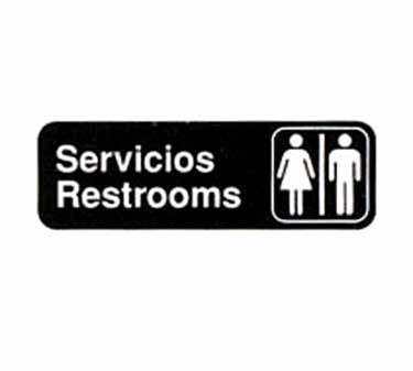 "TableCraft 394588 Servicios/Restrooms Sign, White-On-Black 3"" x 9"""