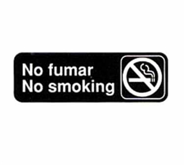 "TableCraft 394589 No Fumar/No Smoking Sign, White-On-Black 3"" x 9"""
