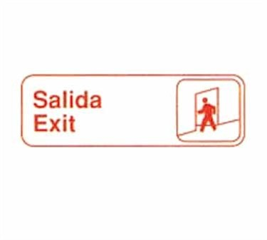 "TableCraft 394590 Salida/Exit Sign, White-On-Black 3"" x 9"""