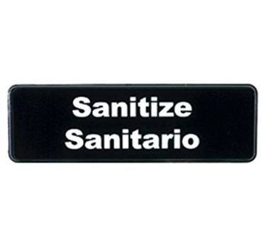 "TableCraft 394595 Sanitize Sign, White-On-Black 3"" x 9"""