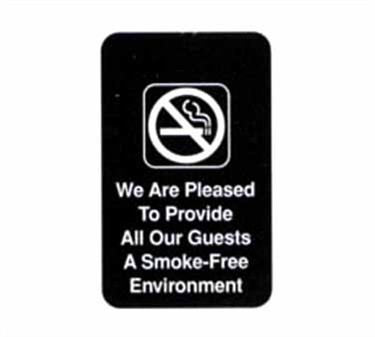 "TableCraft 695601 We Are Pleased To Provide All Our Guests A Smoke-Free Environment Sign, White-On-Black 6"" x 9"""