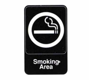 "TableCraft 695614 Smoking Area Sign, White-On-Black 6"" x 9"""
