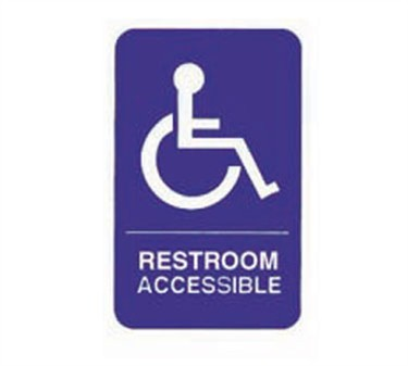 "TableCraft 695622 Restroom/Accessible + Handicapped Symbol Sign, White-On-Blue 6"" x 9"""