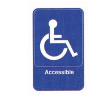 "TableCraft 695644 Accessible + Handicapped Symbol Sign, White-On-Blue 6"" x 9"""