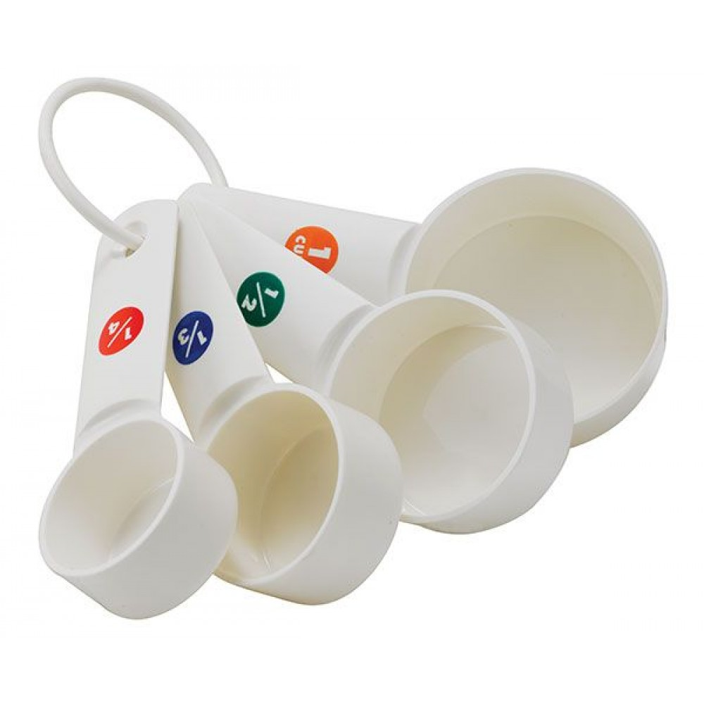 White Plastic Measuring Cup Set with Capacity Marking, 1/4, 1/3, 1/2 and 1 Cup