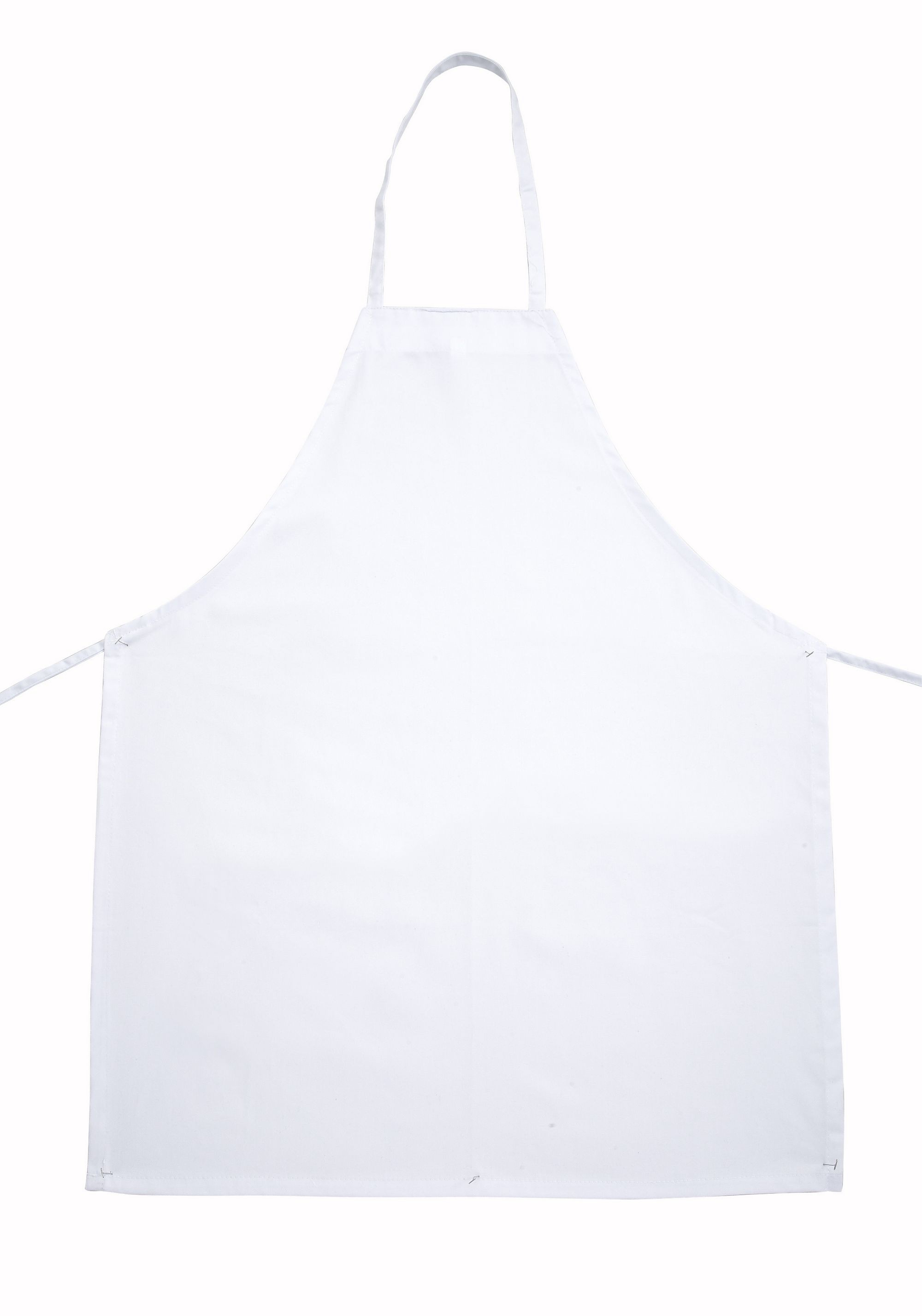 Winco BA-3226WH Full Length White Poly/Cotton Bib Apron