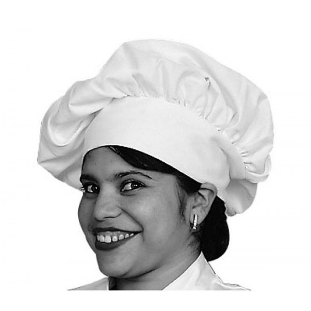 White Poly/Cotton Chef's Hats With Velcro Closure