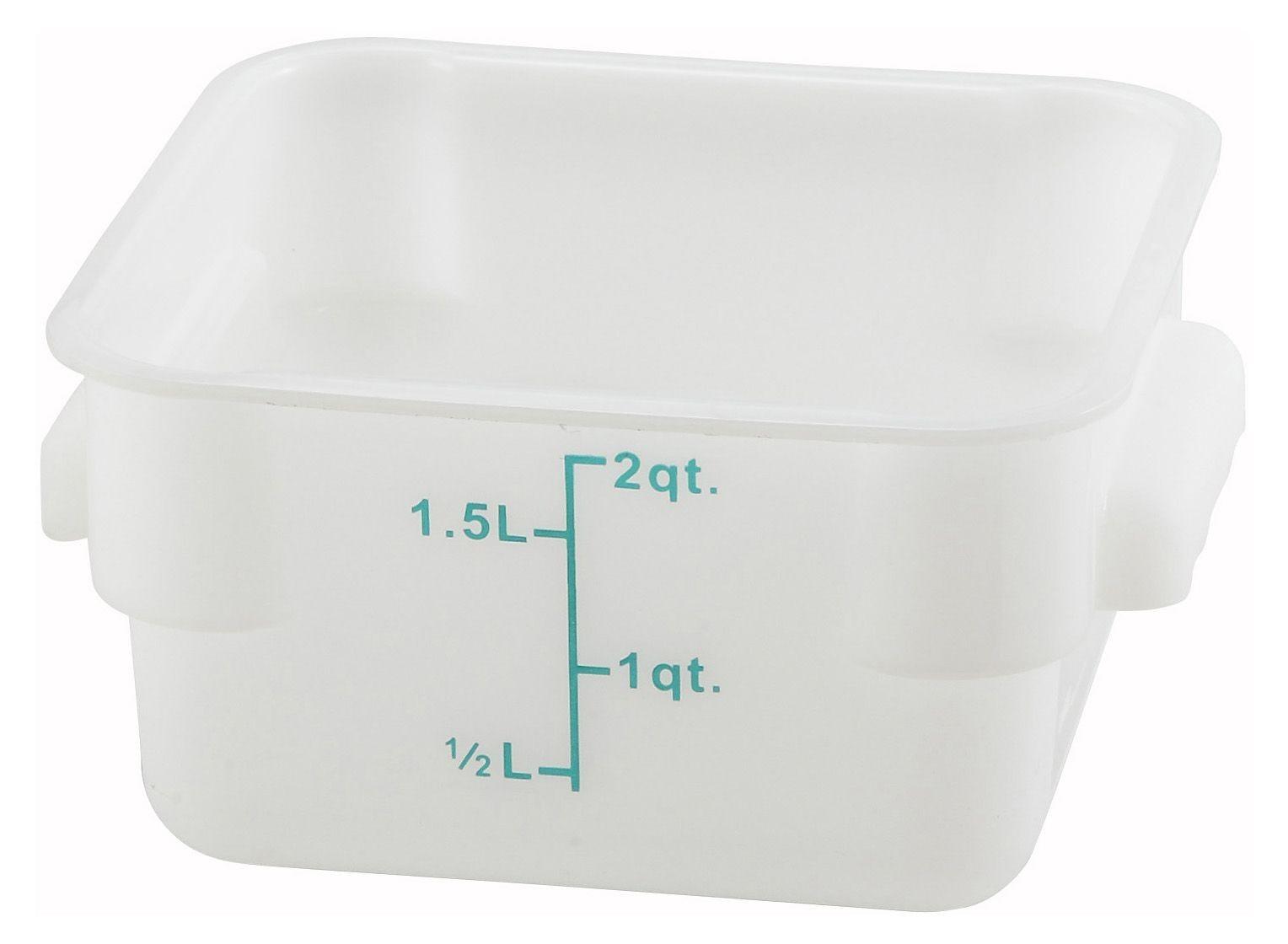 Winco PESC-2 White 2 Qt. Square Food Storage Container