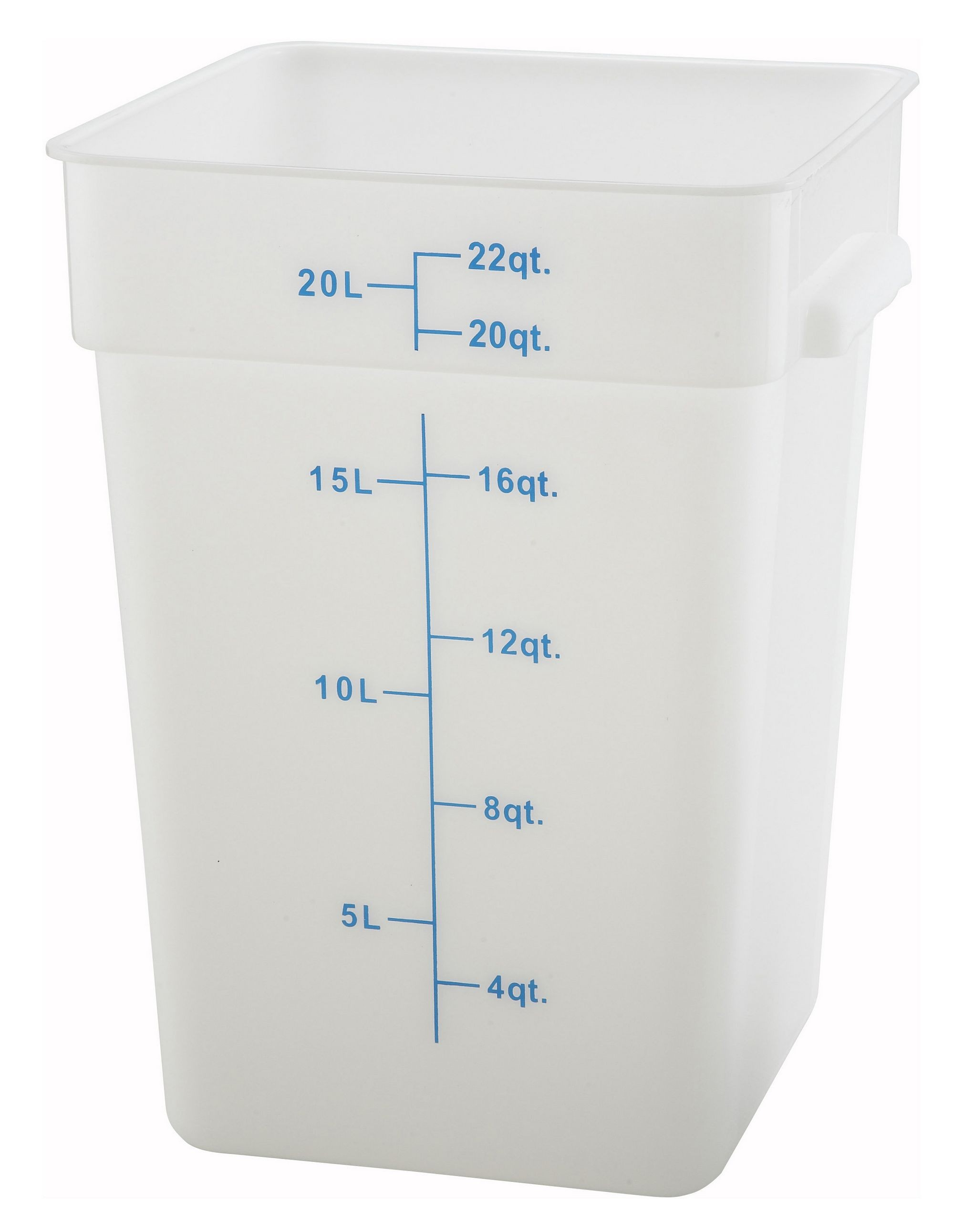 Winco PESC-22 White 22 Qt. Square Food Storage Container