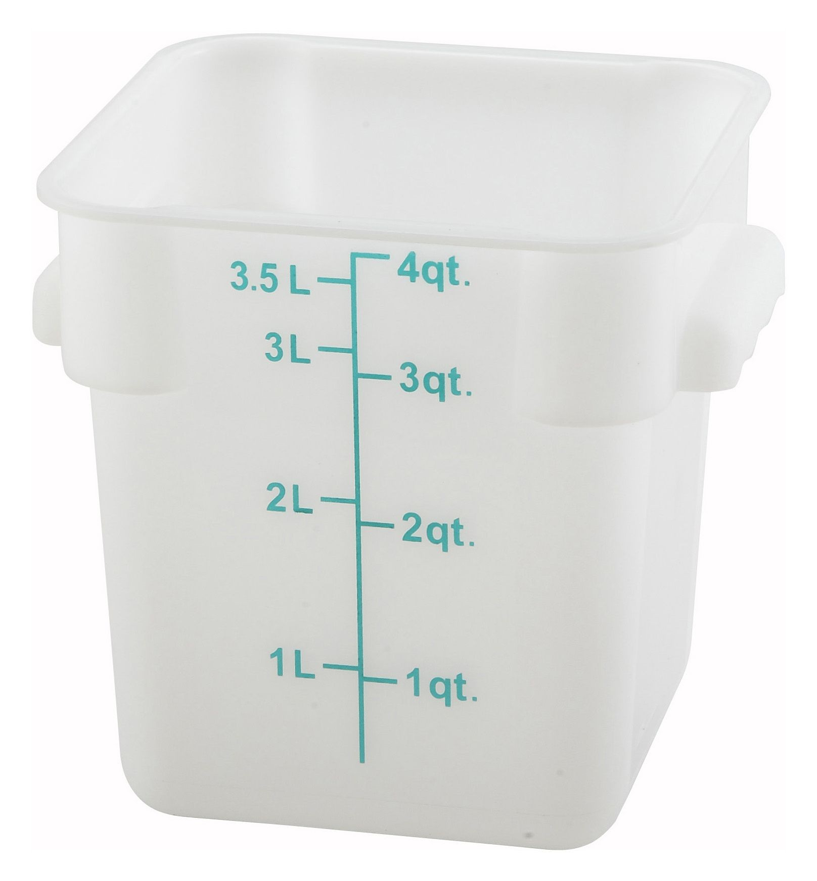 Winco PESC-4 White 4 Qt. Square Food Storage Container