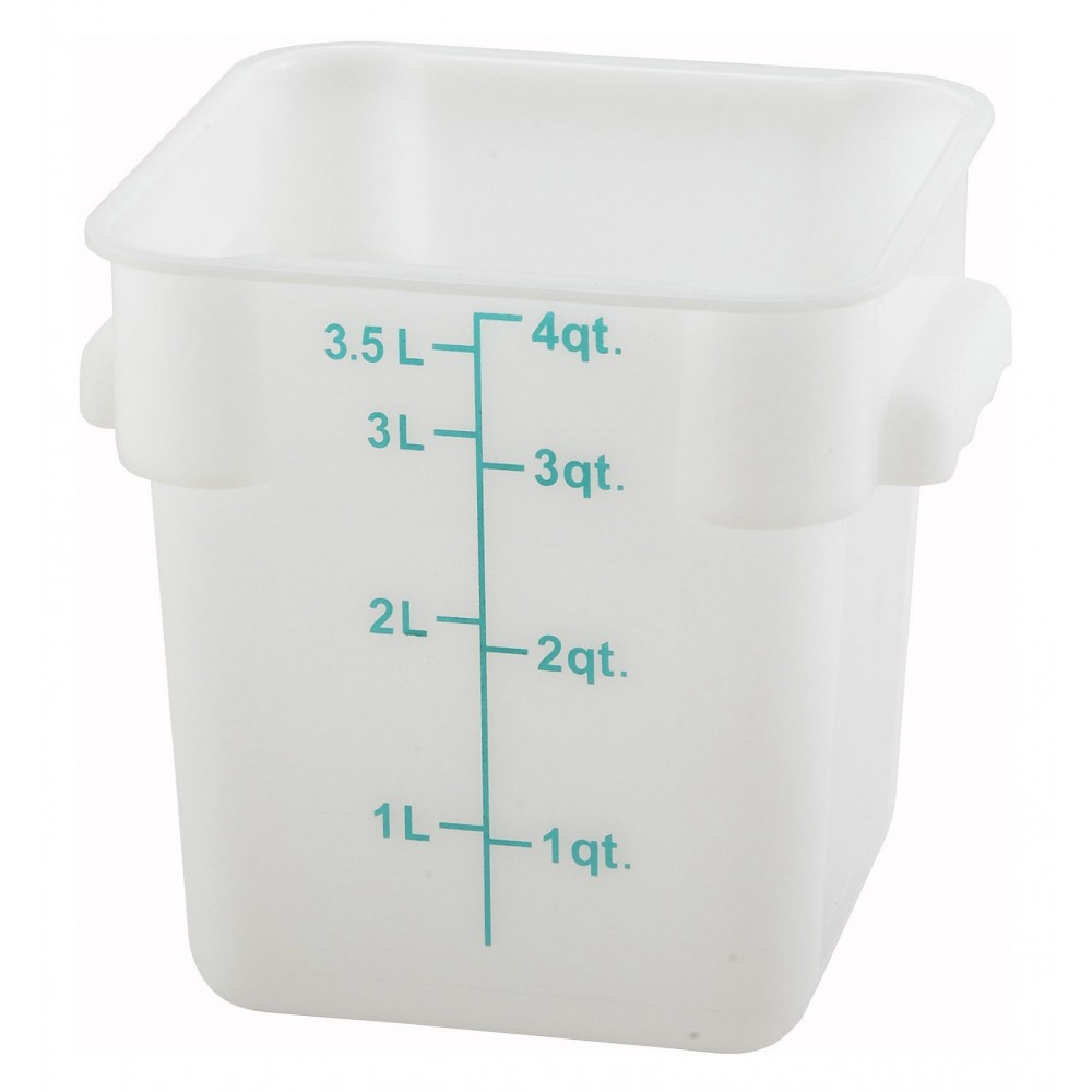 White Polyethylene 4-Quart Square Food Storage Container (lids sold separately)