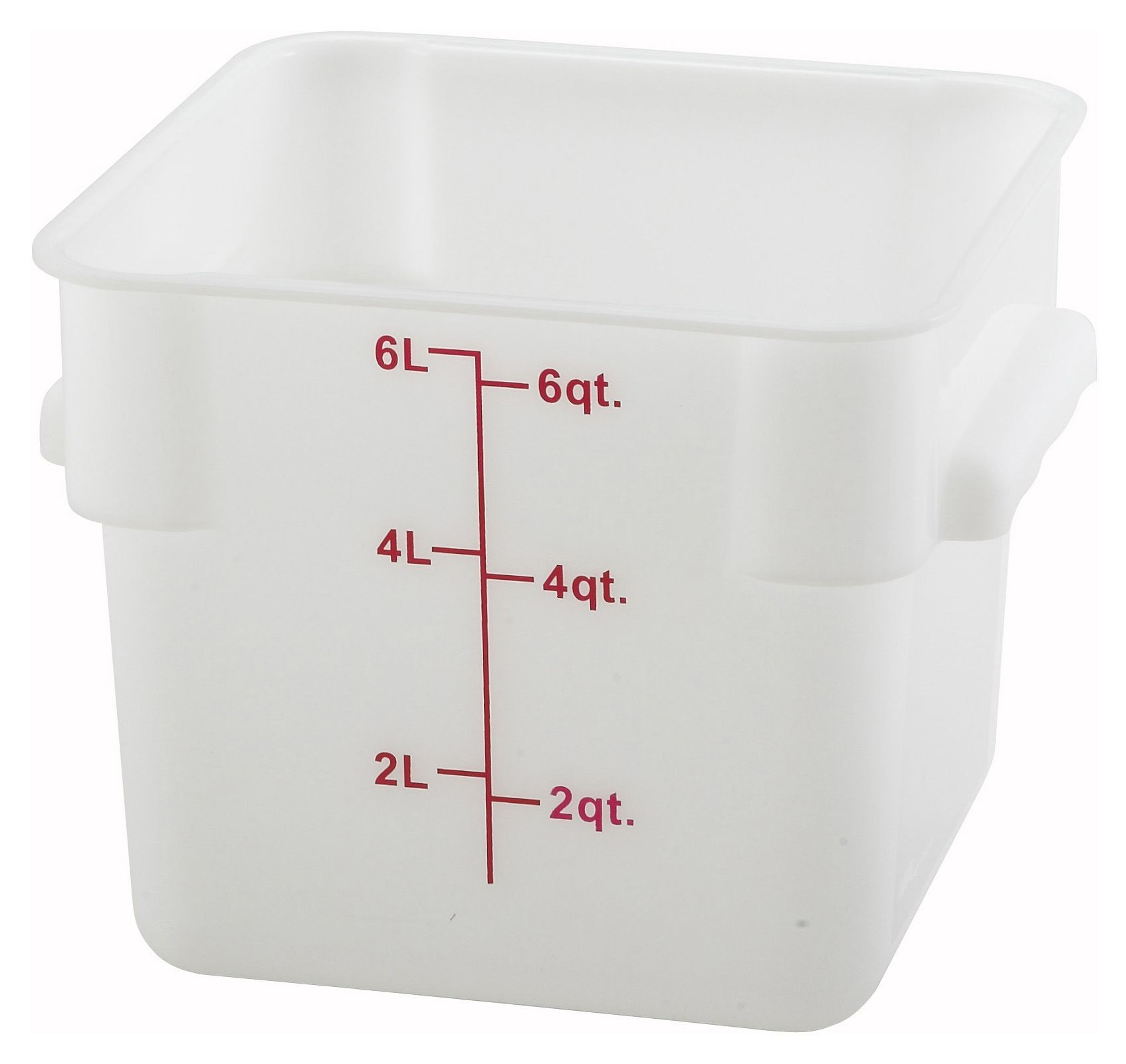 Winco PESC-6 White 6 Qt. Square Food Storage Container