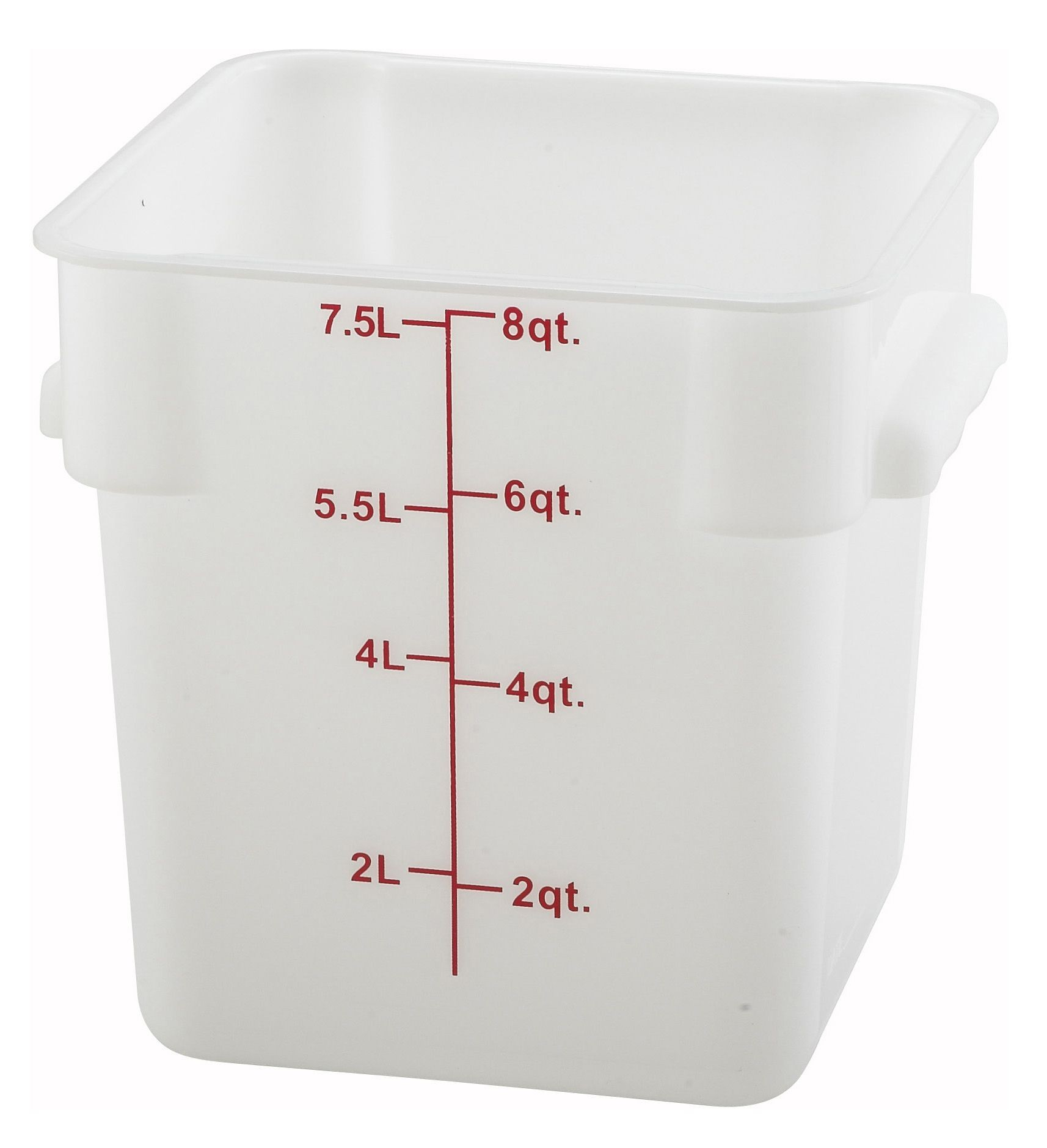 Winco PESC-8 White 8 Qt. Square Food Storage Container