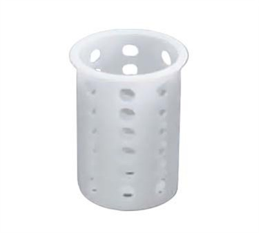 "TableCraft PP33 White Polypropylene Flatware Cylinder 5-1/2"" x 5-1/4"""