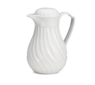 TableCraft 442 White Connoisserve Swirl 20 oz. Thermal Coffee Decanter