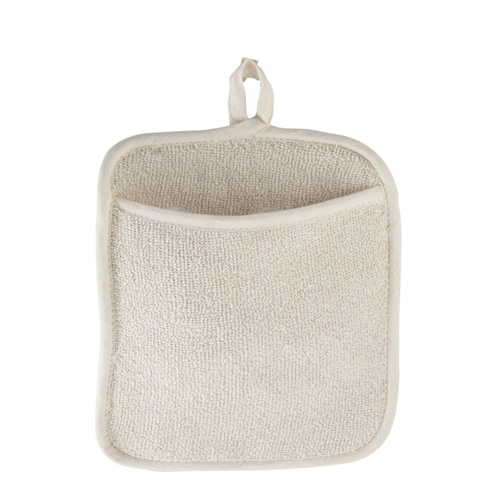 White Terry Material Pot Holder With Pocket - 8-1/2 X 9-1/2