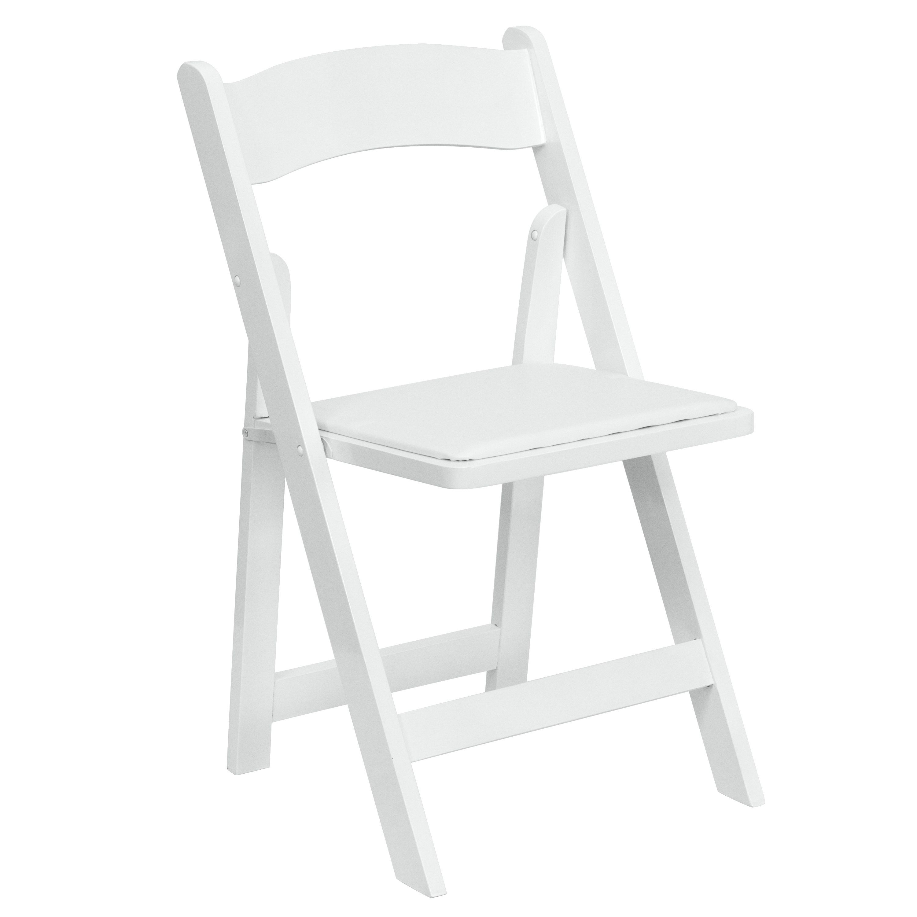 Flash Furniture XF-2901-WH-WOOD-GG White Wood Folding Chair, Padded Vinyl Seat