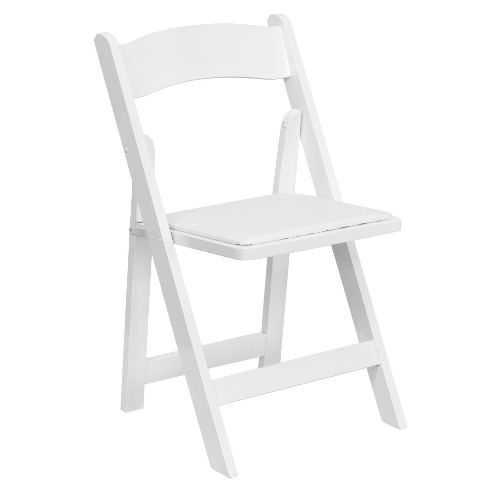 White Wood Folding Chair - Padded Vinyl Seat