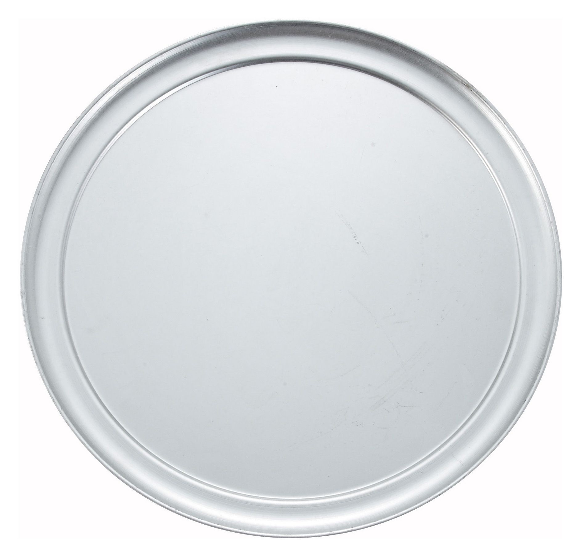 "Winco APZT-14 Wide-Rimmed Aluminum Pizza Pan 14"" Dia."