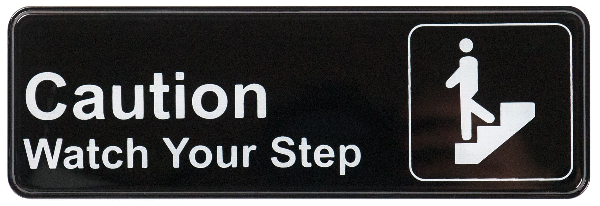 "Winco SGN-326 ""Caution Watch Your Step"" Informational Sign, 9"" x 3"""