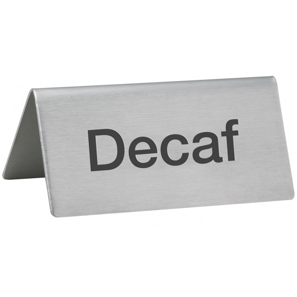 "Winco SGN-102 Stainless Steel Tent Sign ""Decaf"""