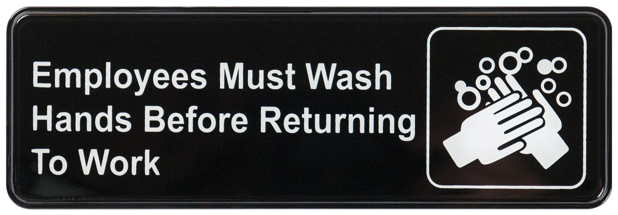"Winco SGN-322 ""Employees Must Wash Hands"" Informational Sign, 9"" x 3"""
