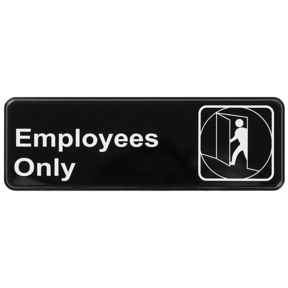 "Winco SGN-305 ""Employees Only"" Informational Sign, 9"" x 3"""