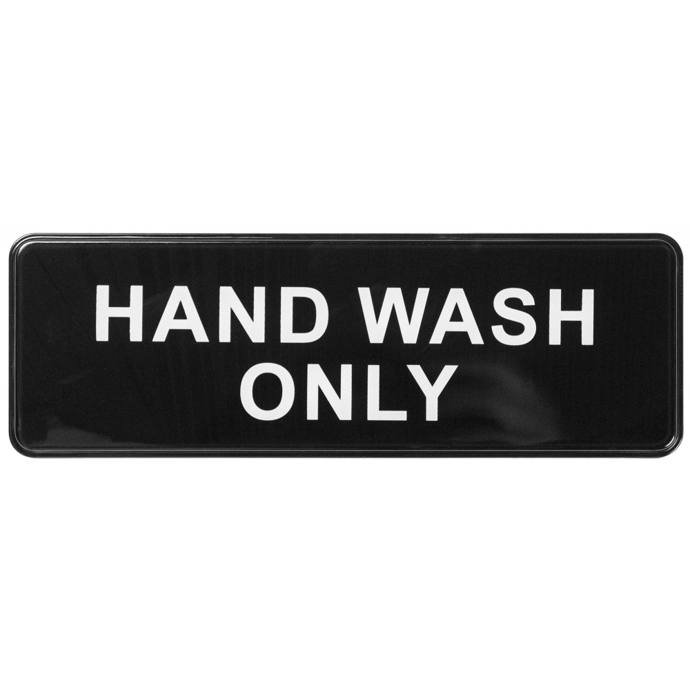 "Winco sgn-303 ""Hand Wash Only"" Informational Sign, 9"" x 3"""