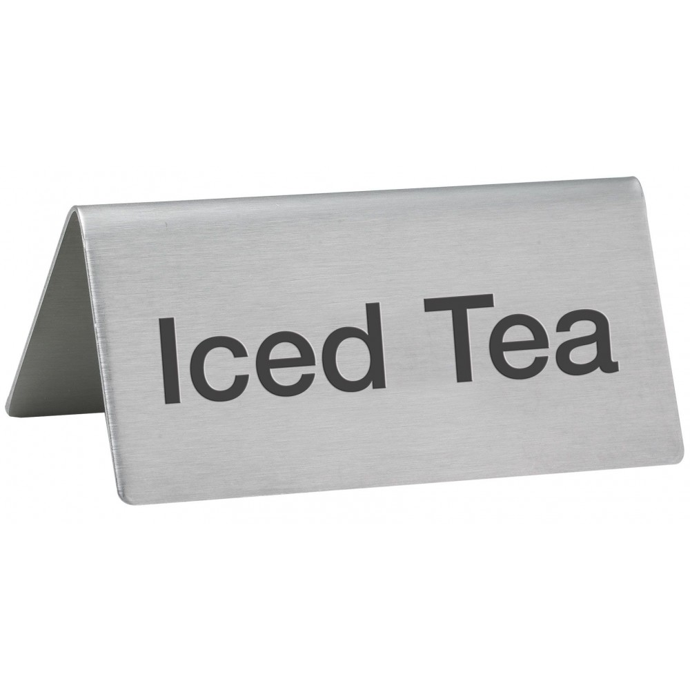"Winco SGN-105 Stainless Steel Tent Sign ""Iced Tea"""
