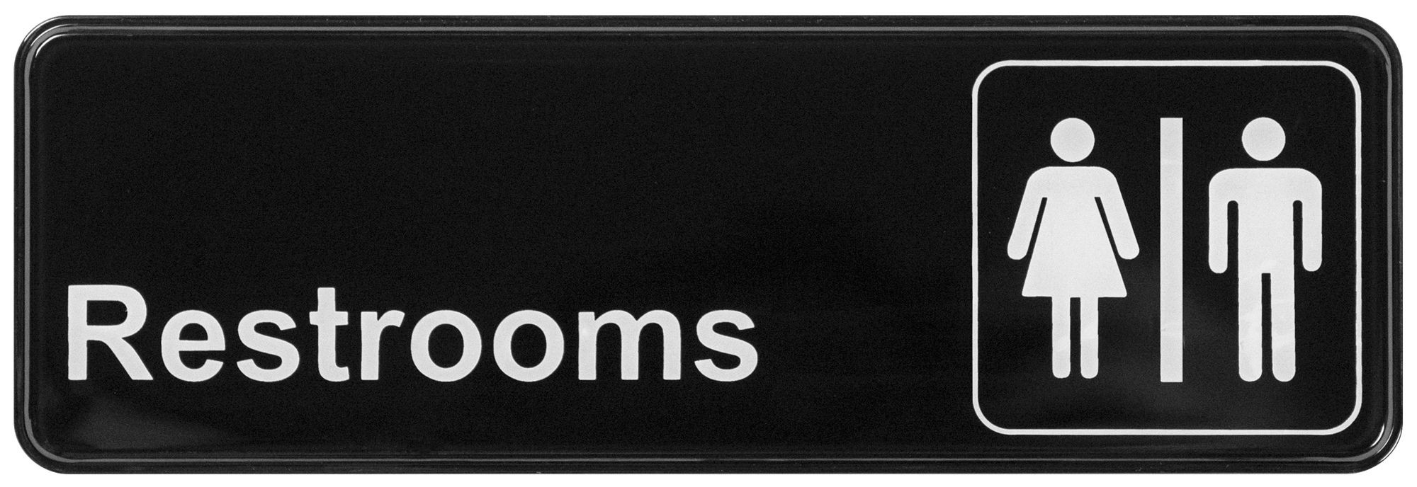 """Winco SGN-313 """"Restrooms"""" Informational Sign, 9"""" x 3"""""""