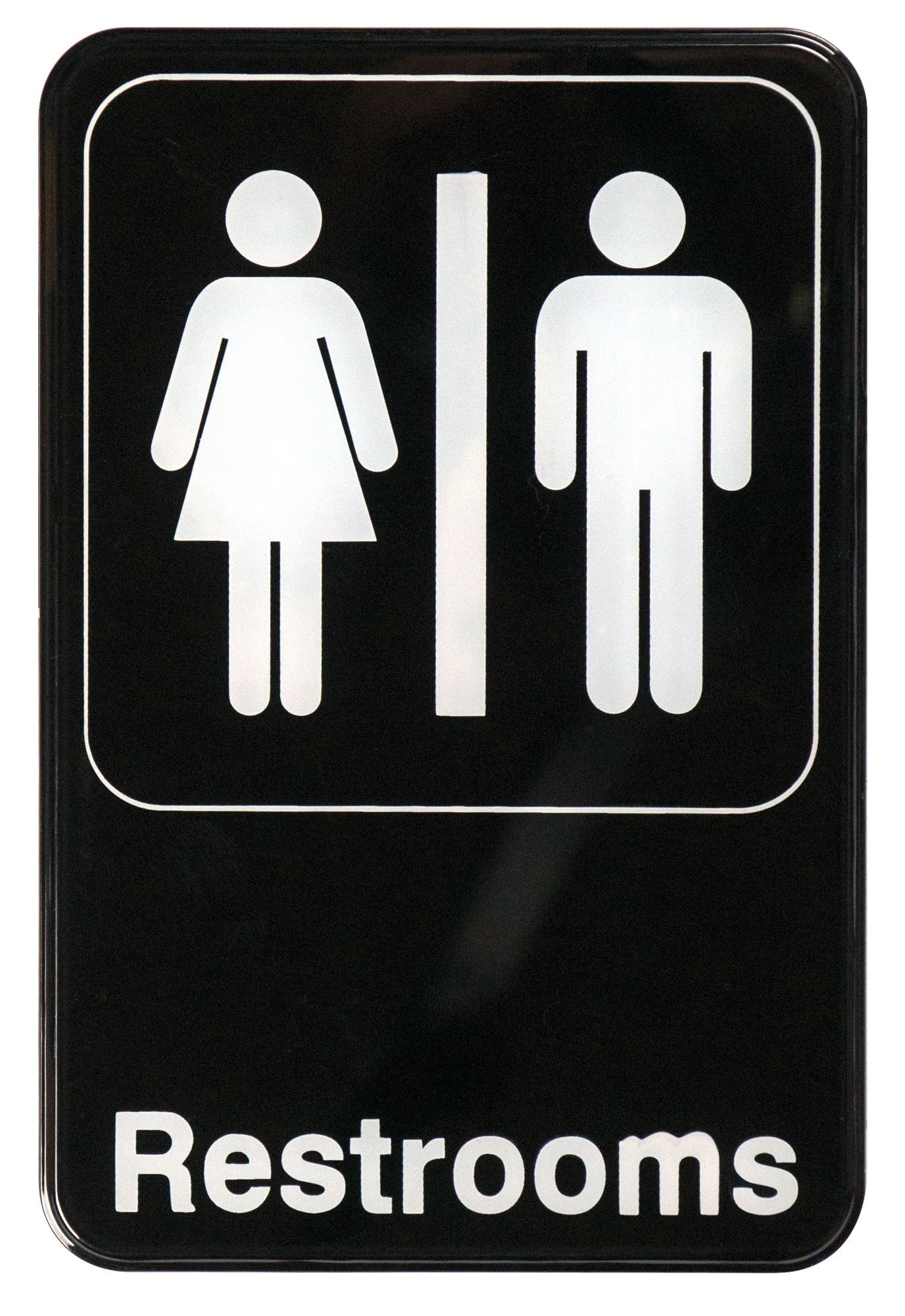 "Winco SGN-603 ""Restrooms"" Informational Sign, 9"" x 6"""