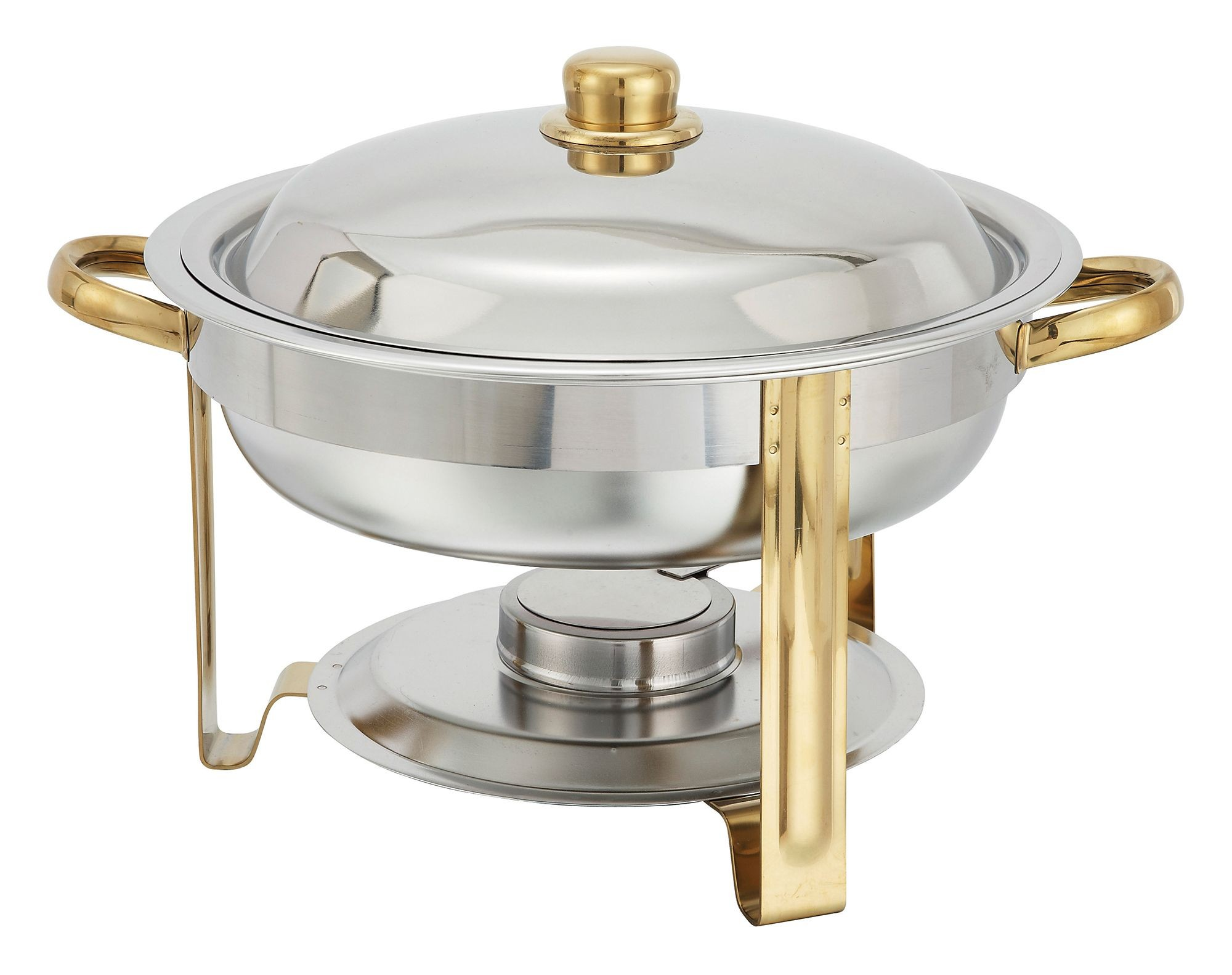 Winco 203 Malibu Stainless Steel Round Chafer 4 Qt. with Gold Accents