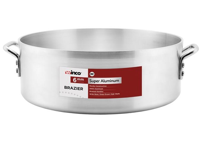 Winco AXHB-40 Super Aluminum Brazier Pan 6mm, 40 Qt.