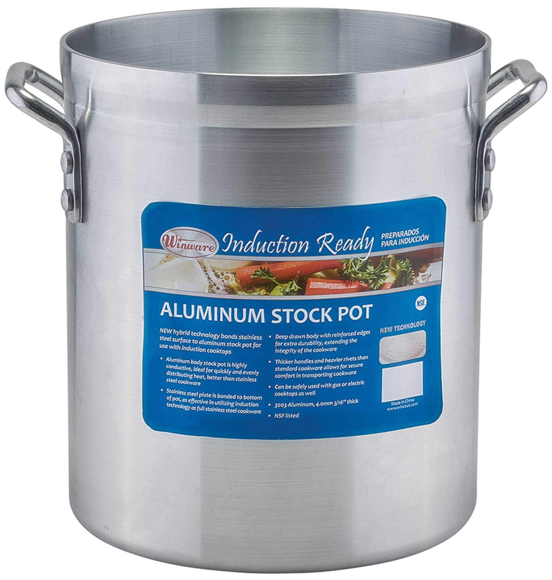 Winco AXSI-12 12 Qt. Induction Ready Aluminum Stock Pot with Stainless Steel Bottom