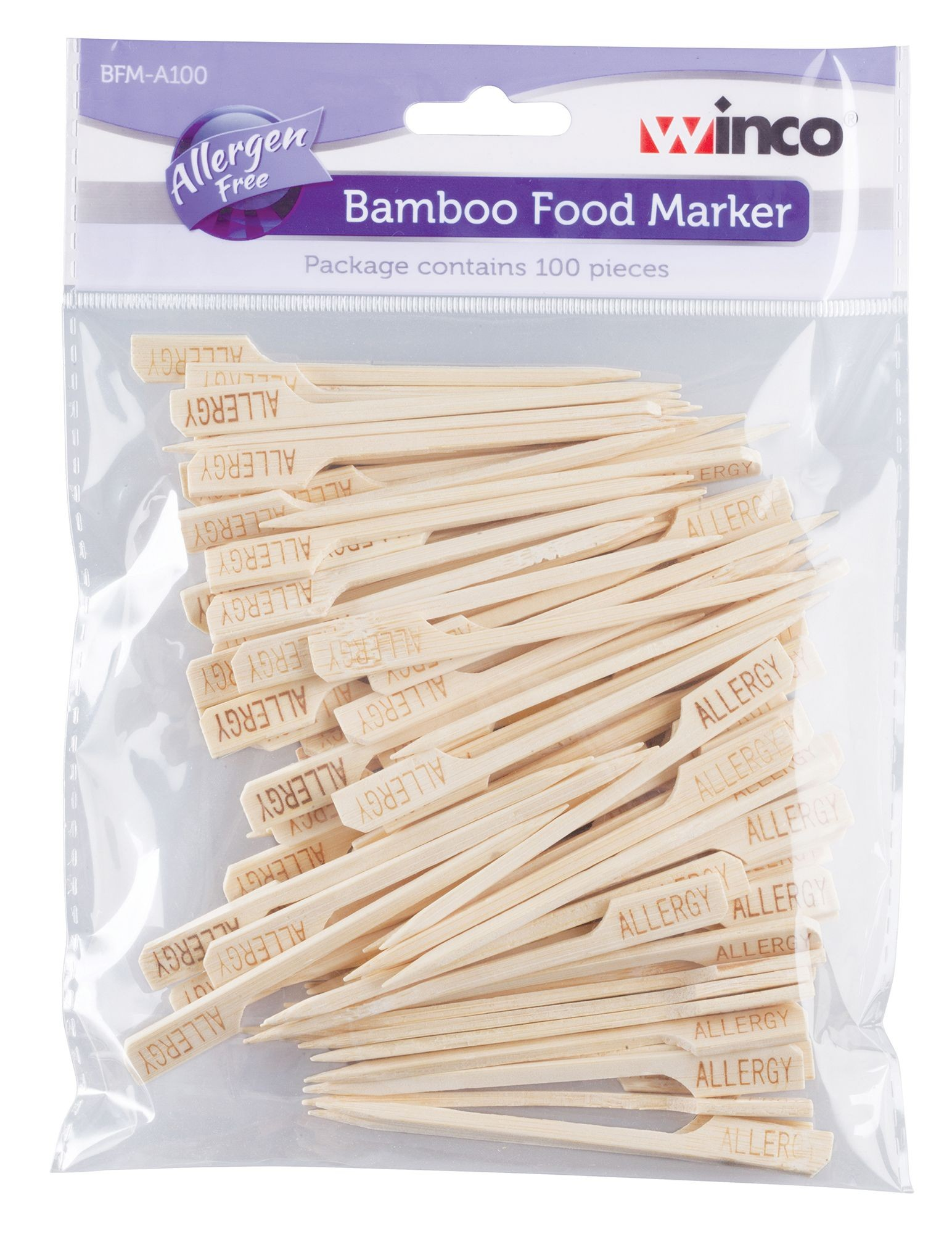 Winco BFM-A100 Bamboo Allergen Free Food Markers, 100/pack