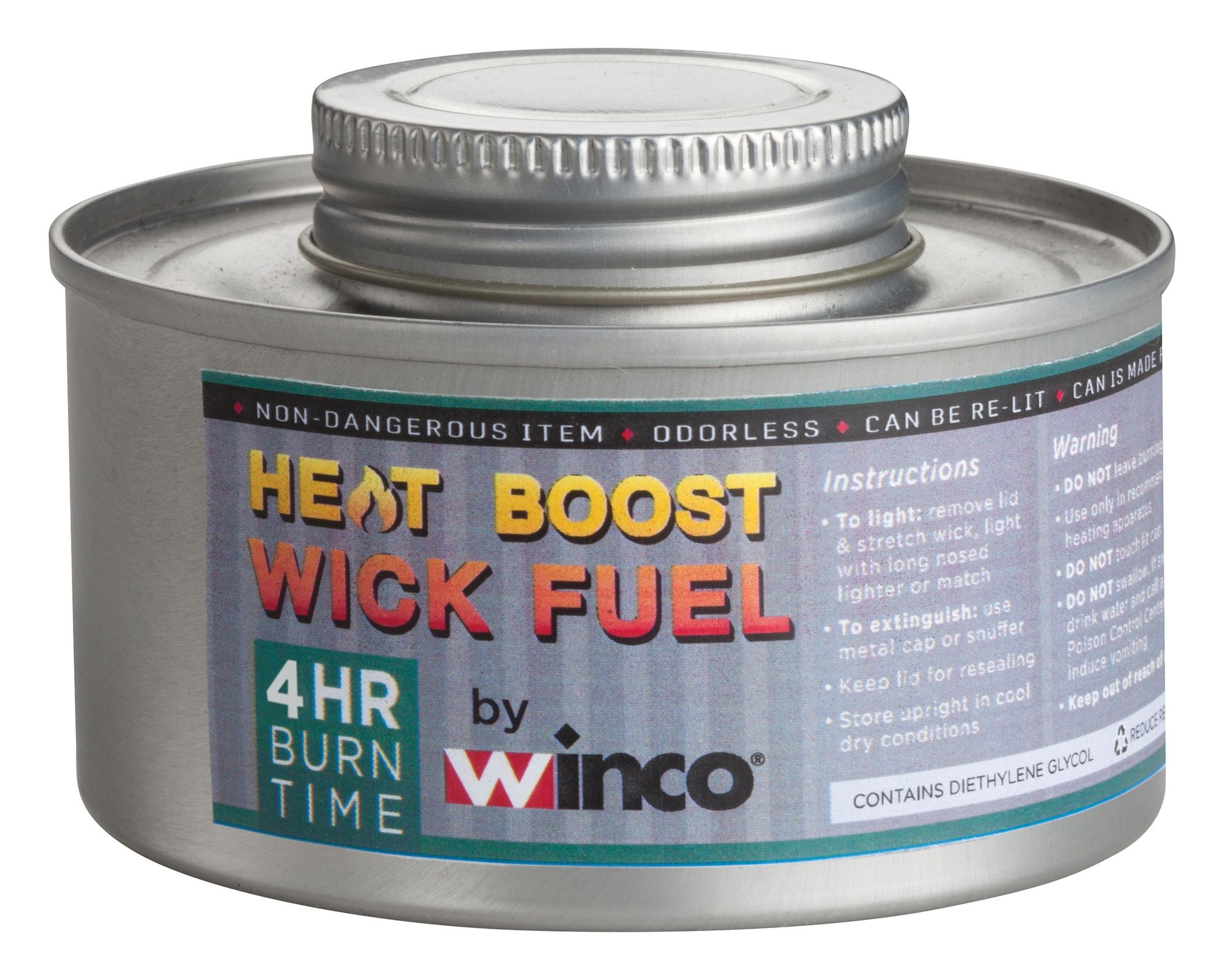 Winco C-F4 4-Hour Chafing Fuel Can with Twist Cap, Wick-Type