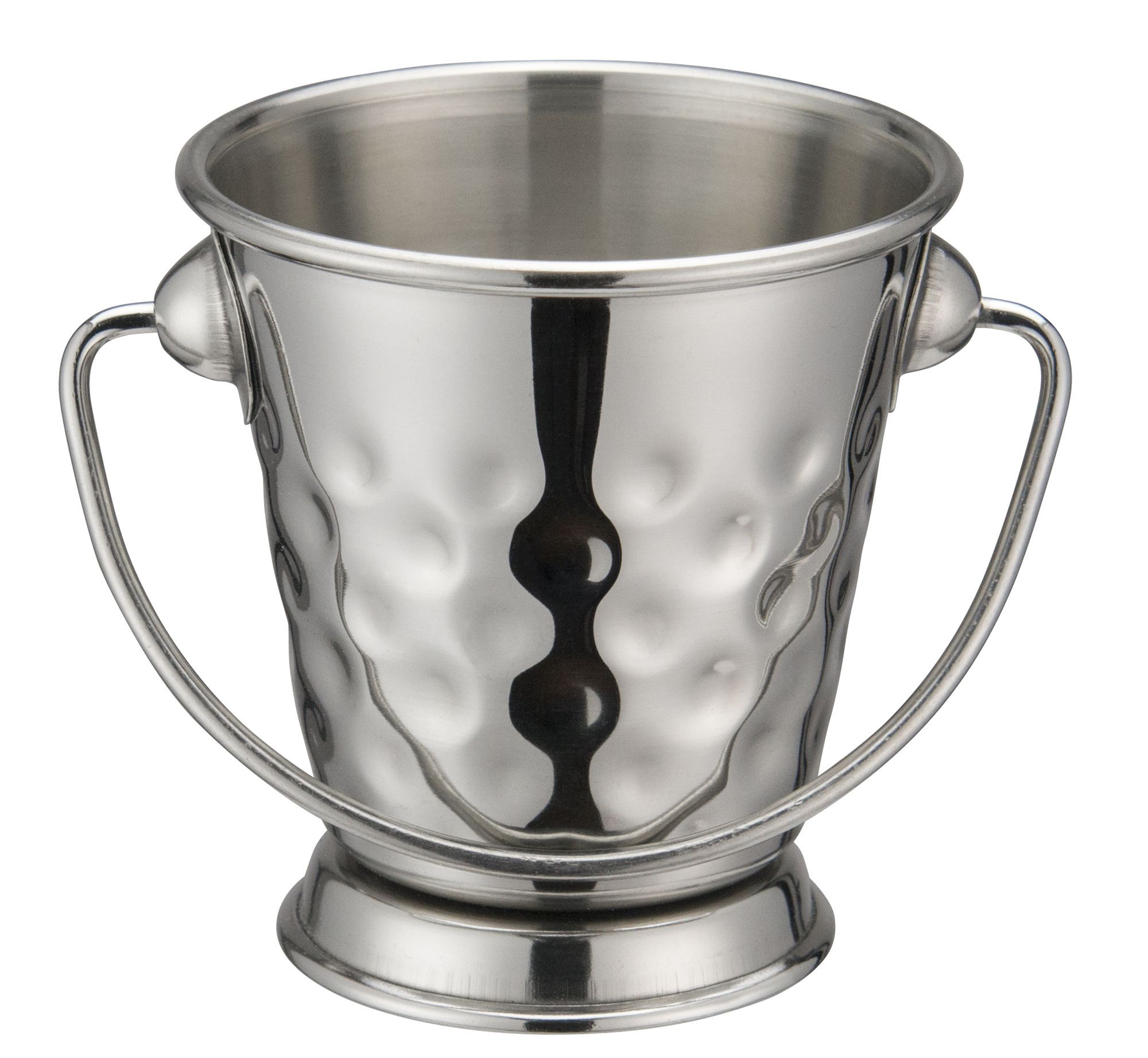 """Winco DDSA-101 Stainless Steel Hammered 3"""" Dia x 3-1/8"""" H Mini Pail"""