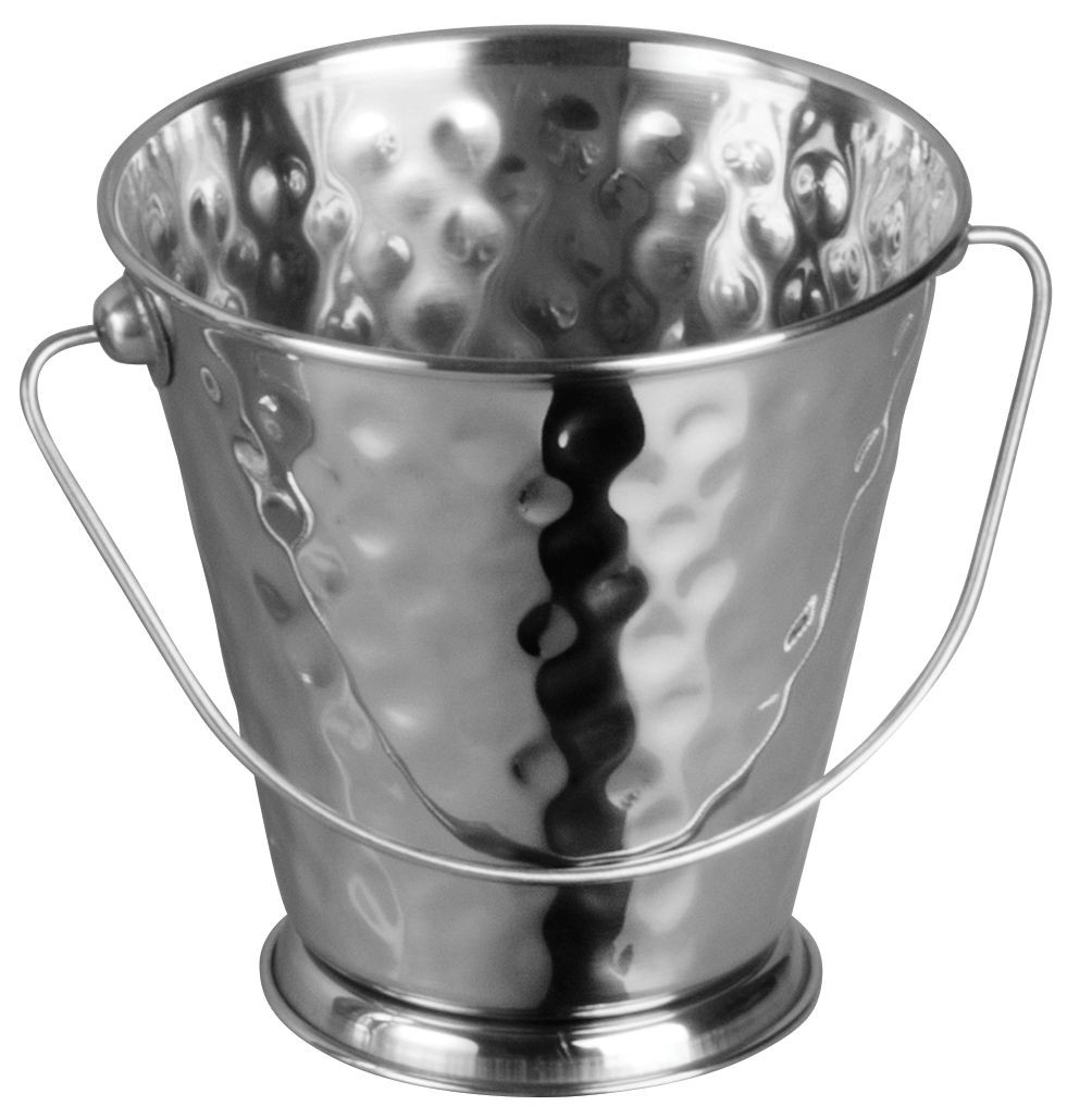 "Winco DDSA-103S Stainless Steel Hammered 5"" Dia x 5"" H Mini Pail"