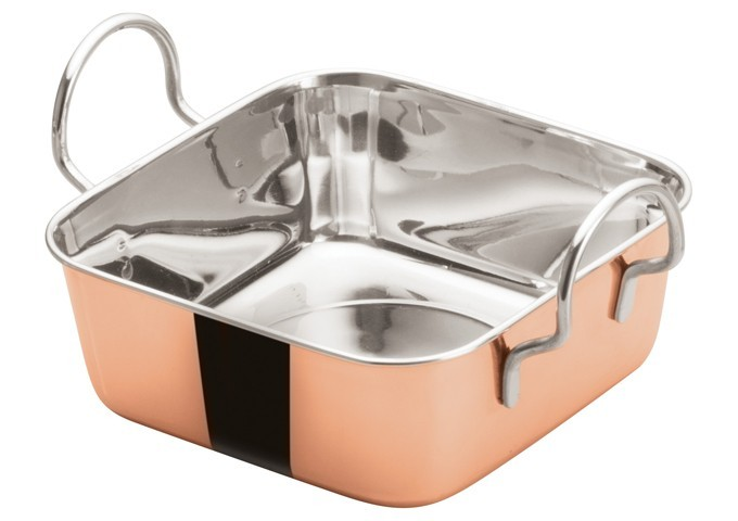 "Winco DDSB-202C Copper Plated 5-3/16"" Mini Roasting Pan"