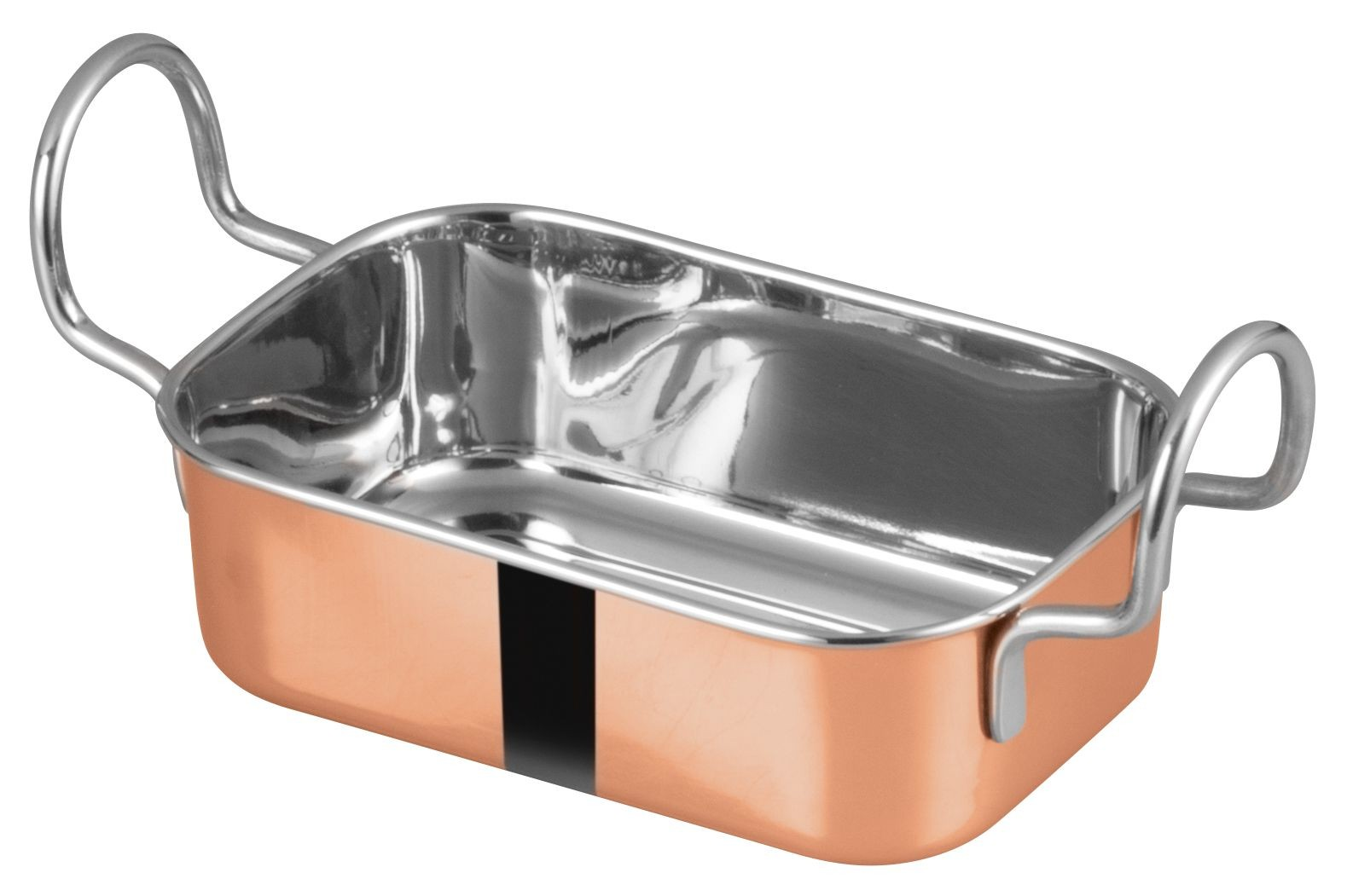 "Winco DDSB-204C Copper Plated 5-3/4"" x 3-3/4"" Mini Roasting Pan"
