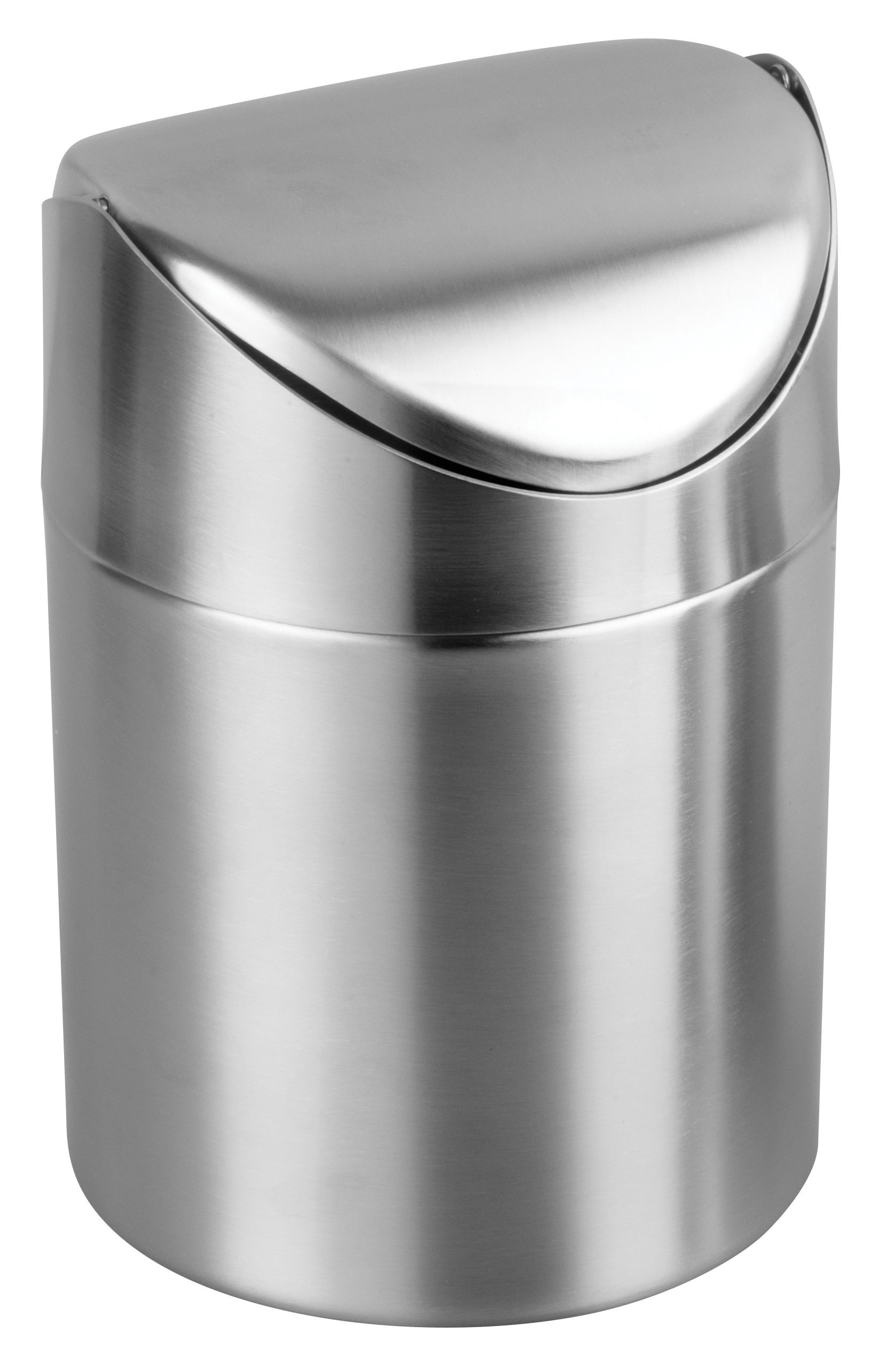 """Winco DDSF-101S Stainless Steel 4-3/4"""" Dia x 6"""" H Mini Swing Waste Can"""