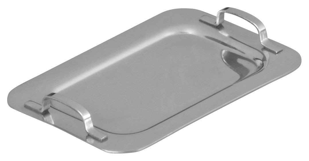 "Winco DDSH-101S Stainless Steel 6-5/8"" x 4-1/4"" Mini Serving Platter with Handle"