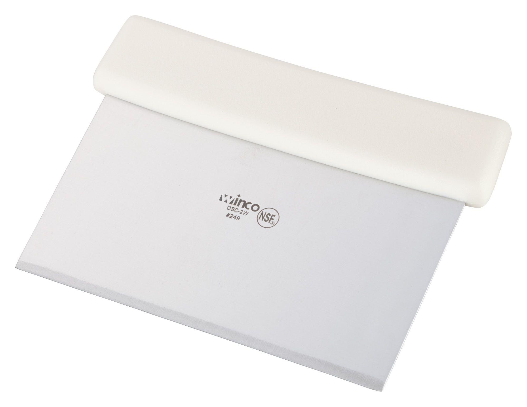 Winco DSC-2W Stainless Steel Dough Scraper with White Plastic Handle