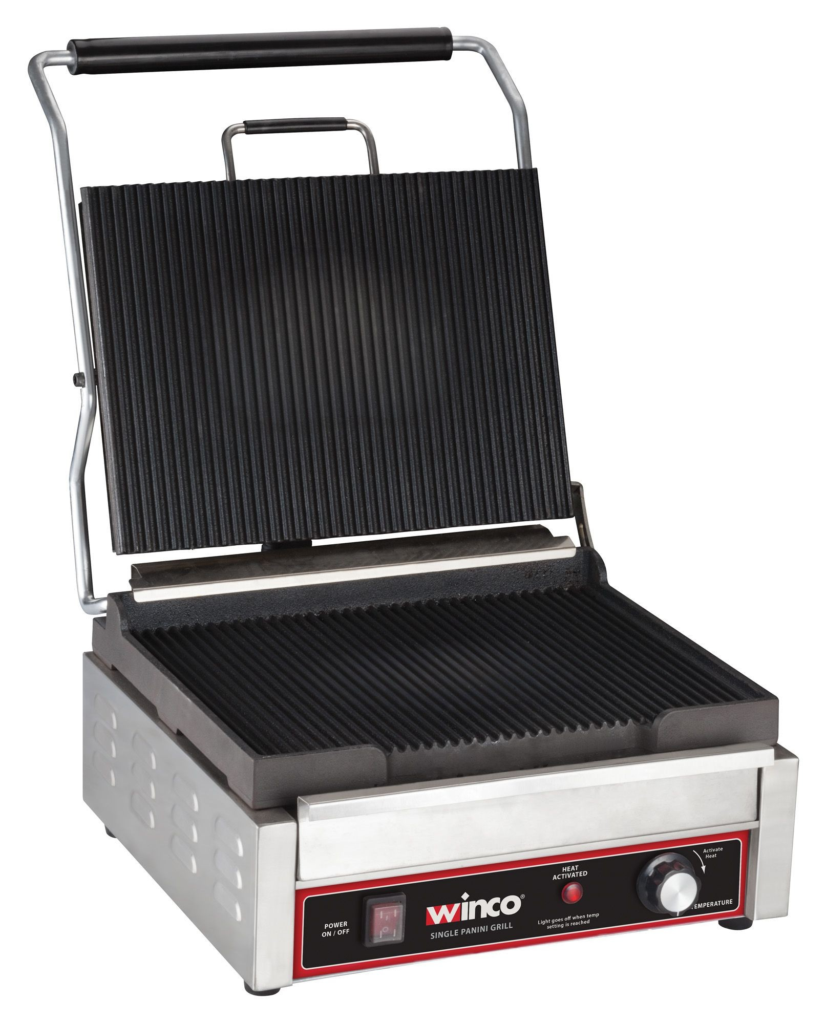 Winco EPG-1C Countertop Electric Single Panini Press 120V