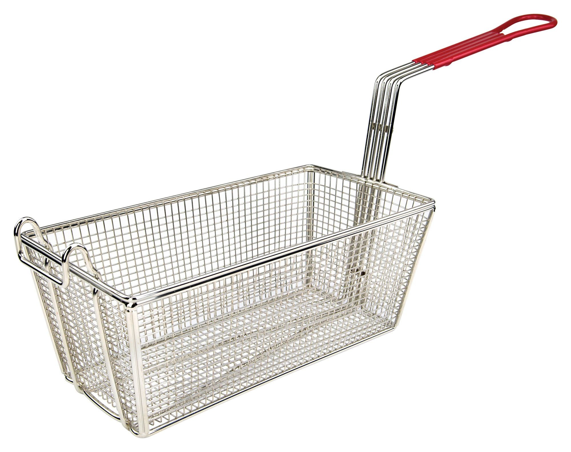 "Winco FB-25 Fry Basket, Red Handle 12-7/8"" x 6-1/2"" x 5-3/8"""