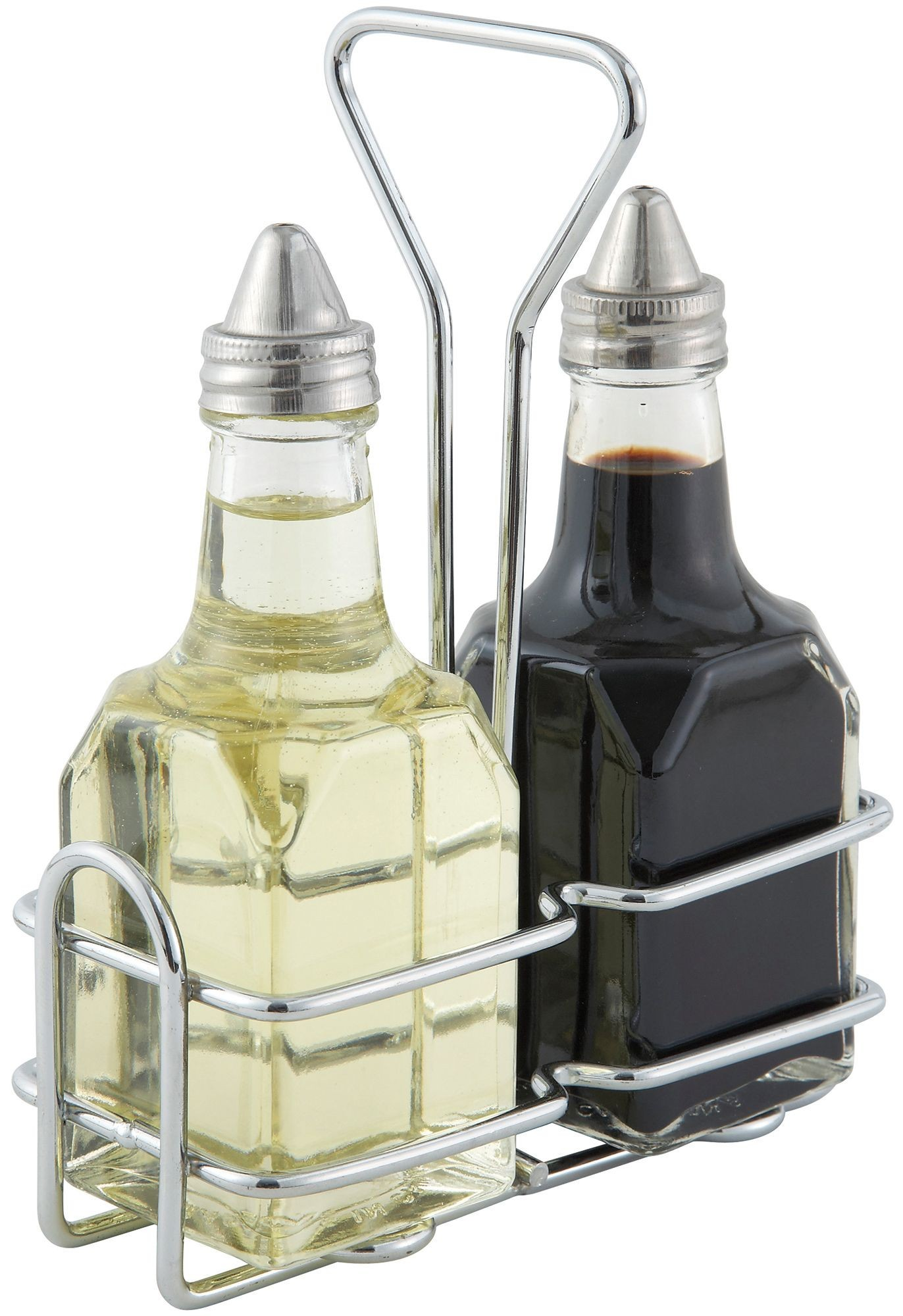 Winco G-104S Oil and Vinegar 6 oz. Cruet Set with Chrome-Plated Rack