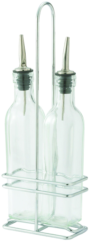 Winco GOB-16S Oil and Vinegar 16 oz. Cruet Set with Chrome-Plated Rack