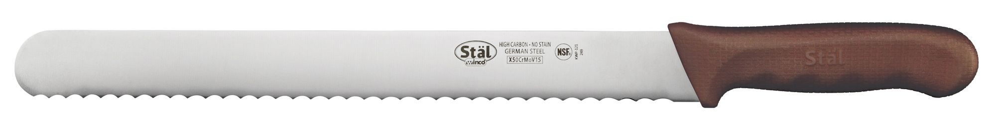 """Winco KWP-121N 12"""" Straight Edge Bread Knife with Brown Handle"""