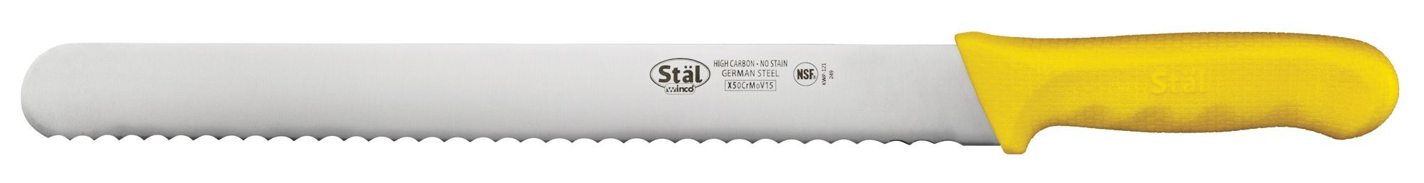 """Winco KWP-121Y 12"""" Straight Edge Bread Knife with Yellow Handle"""