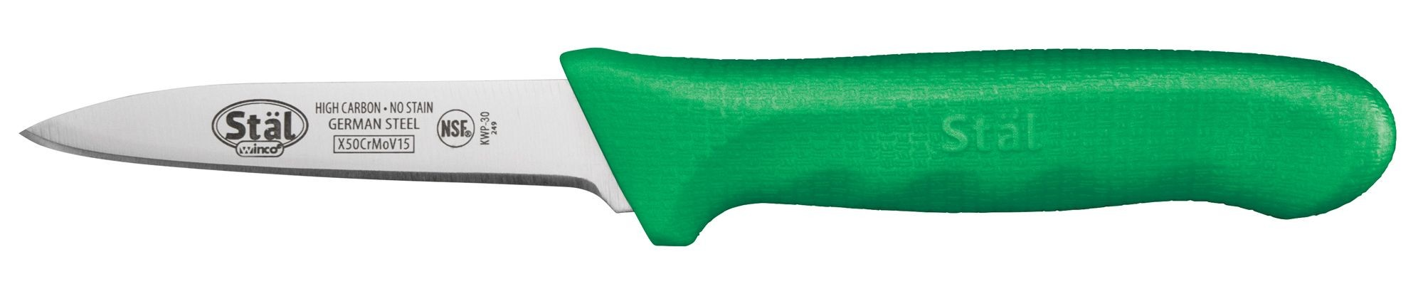 """Winco KWP-30G 3-1/4"""" Paring Knife with Green Handle - 2 pieces"""